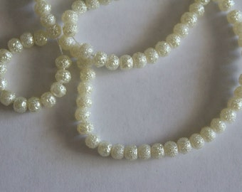 Small round glass textured beads - white 4mm (25)