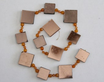 SALE - Vintage string of mirror tiles and beads - copper topaz amber - 17.5 inches