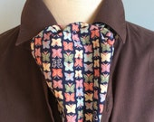 Butterfly Vintage Silk Mens Cravat Self Tie Ascot  Japanese Kimono OOAK