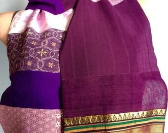 Purple Vintage Silk Kimono Scarf OOAK  -  Diva