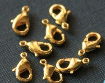 50 pcs of  Solid Brass  lobster claw clasp 12X7mm - Gold plated