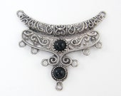 Antique Silver Bib Necklace Crescent Pendant Black Cab Jewelry Tribal Ethnic Necklace Finding Ornate Jewelry Component |LG9-1|1