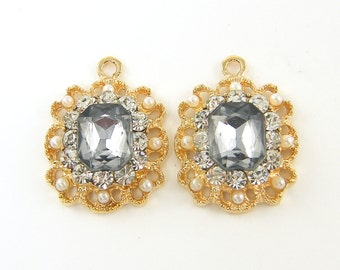 Gray Rhinestone Earring Findings White Pearl Gold Filigree Ornate Pendant Charms  G5-10 2