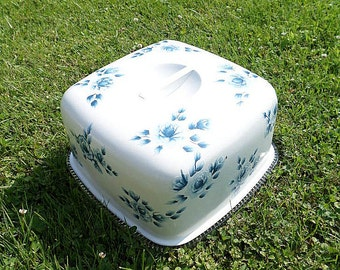 Handpainted Vintage Cake Tin,Cover,Blue and White Tole,Toile Roses,Shabby Chic,Cottage,Kitchen,Metal and Glass