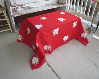 Vintage Red Tablecloth with White Roses Wilendur Vibrant Saturated Color Vintage Floral Tablecloth Retro Decor (4461-W)