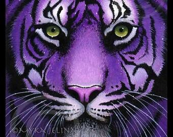 Fiala Embellished Ltd Canvas Print 8x10 inch Purple Tiger Big Cat