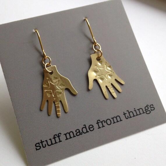 Brass Hand Frida Kahlo Inspired Earrings - Star Design - Mexican - Dias De Los Meurtos - Tattoo - Festival - Gypsy - Golden - Gold
