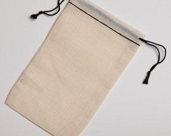 1000 3.25x5 cotton muslin black hem and black double drawstring bags