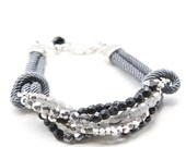 Satin Cord Bracelet Linked to Multiple Strands of Glass Beads and Pearls (B48)