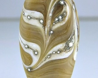 Etched Tan Ivory Silver Lampwork Focal Bead