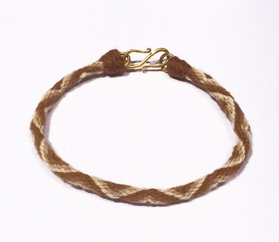 Pure Vicuna Handspun Hand Braided Kumihimo Bracelet, 18k Gold Clasp
