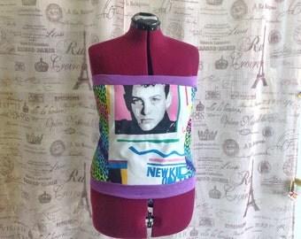 NKOTB Tube Top Shirt Knit Top Sexy 90s Retro New Kids On The Block Joey McIntyre Cheetah Purple Sz L 42 44 Bust Ready to Ship