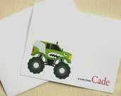 Personalized Monster Truck Note Cards - Set of 8 - Green Truck