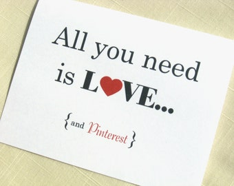All You Need Is Love and Pinterest Note Cards - Pin It - Set of 8