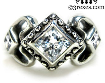 Princess Love Silver Engagement Ring Gothic Wedding Band White CZ Stones Size 5.5