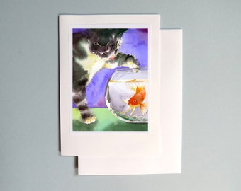Blank Card / Black black tabby cat art / Greeting card / Watercolor note card / Kitten fish in a fishbowl card / Kitty cat painting 7 x 5 A7