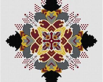 Cosmic Burst  cross stitch pattern PDF Black and White