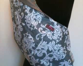 Baby Sling  Baby Carrier - Gray and White Damask Gray  Lining   Second Item Ships Free