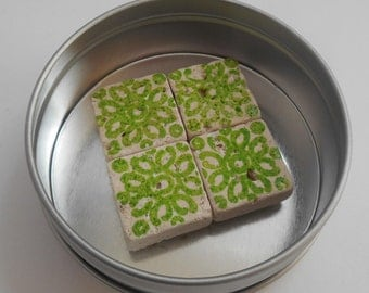 Lime green ivory travertine magnets
