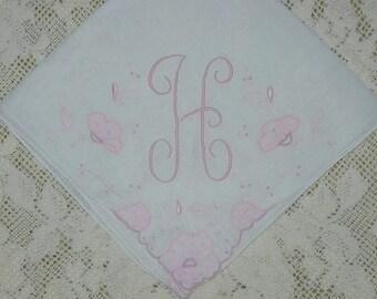 Vintage initial H Hanky Hankie Handkerchief