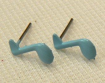 Blue Musical Note Post Earrings, Minimalist Stud Earrings, Vintage Eight Note Post Earrings, Light Blue Retro Music Earring Studs (E407)