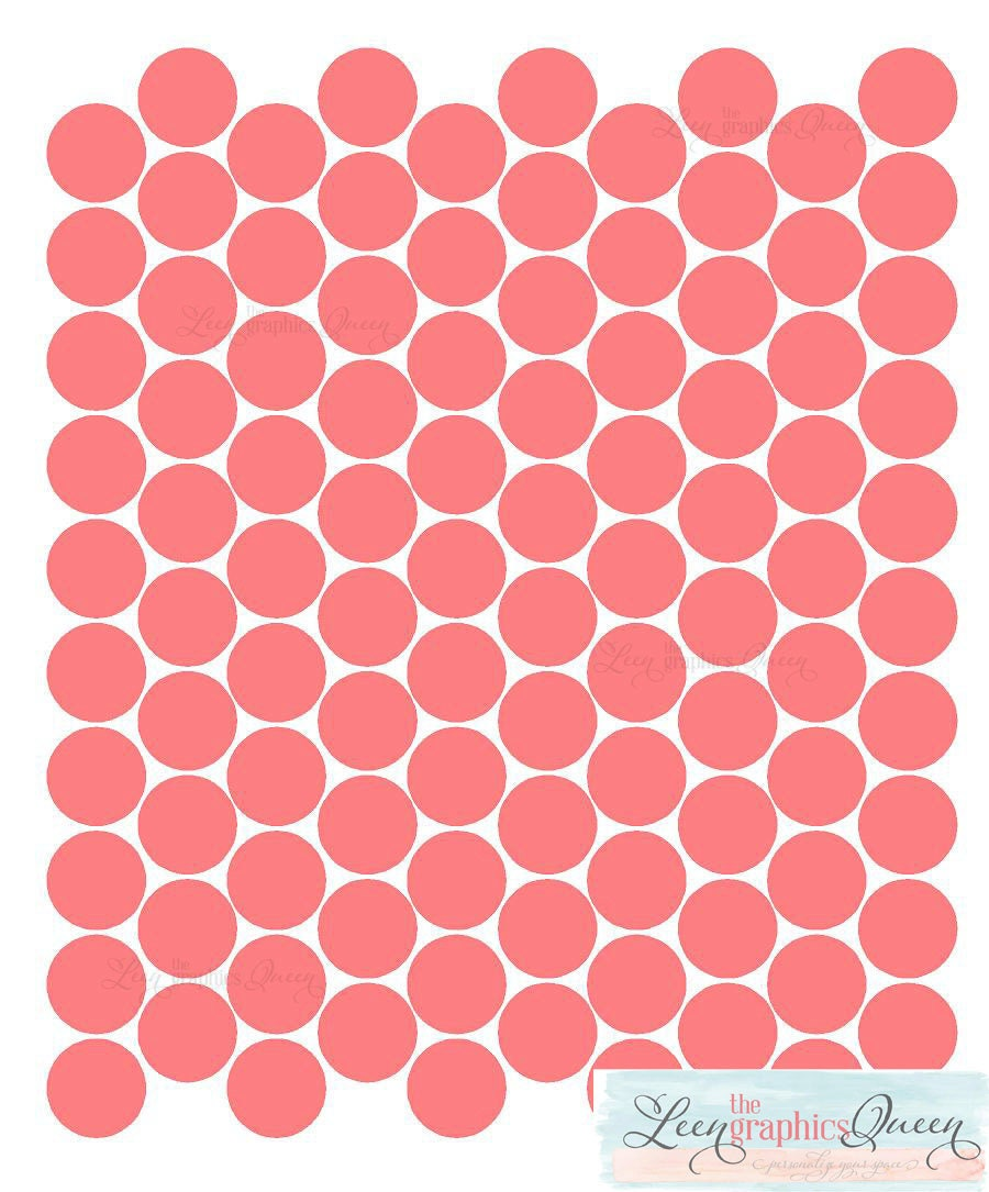 Coral Color Circle Dot Shaped Wall Decals Peel and Stick 100