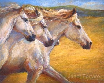 """Galloping Horses art on canvas or paper of """"Galloping Gold"""" Giclee print"""