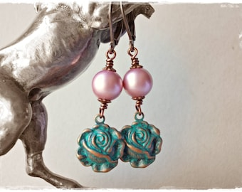 Romantic vintage style earrings, powder rose, faux crystal pearl, blooming roses, verdigris flower dangle drop earrings for women, shabby