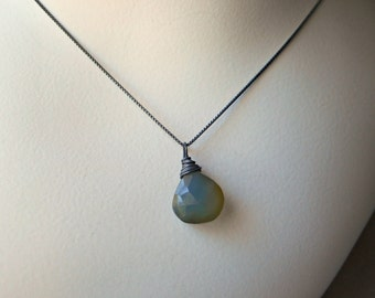 Natural Chalcedony Necklace Oxidized Sterling Silver shade grey blue chalcedony stone faceted briolette teardrop gemstone necklace handmade