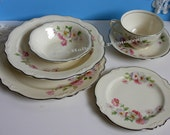 "Vintage 1950's Homer Laughlin ""Virginia Rose"" ""Fluffy Rose"" Six (6) Piece Place Setting with Platinum Trim"