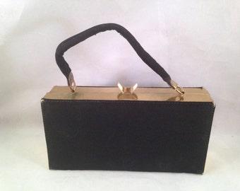 Vintage Black Nylon Box Purse with Gold Hardware
