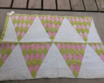 Vintage Hand Quilted Apple Green and Pink Calico Diamond Shape Cutter Quilt Piece