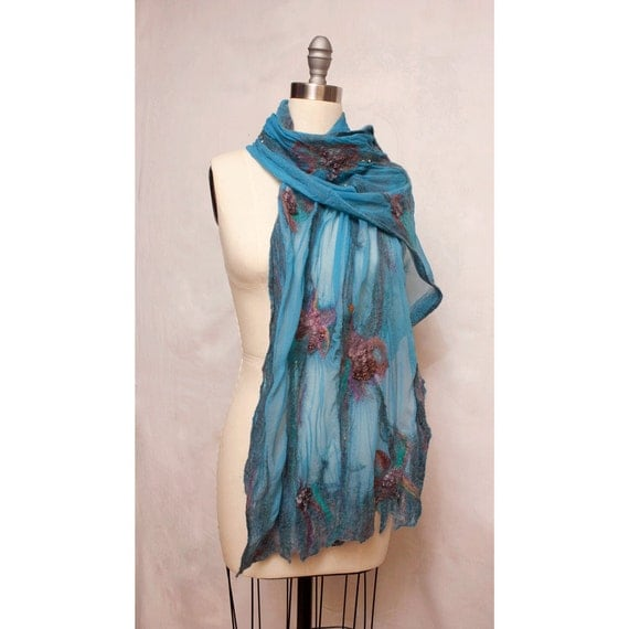 Nuno Felted Silk Shawl Blue Art To Wear