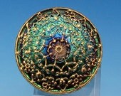 Czech Glass Mandala Button, Aqua Green Vitrail, Gold, 32 mm, With Pendant Converter C462
