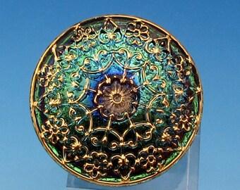Czech Glass Mandala Button, Aqua Green Vitrail, Gold, 32 mm, With Pendant Converter C462