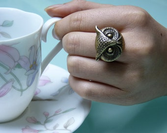 OOAK Antique Brass Little Owl Head Ring, Adjustable, Fantasy, Chic, Woodland Jewelry