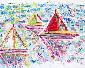 Sailboats 5, original signed drawing (5 1/2 in. x 8 in.)