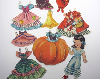 Vintage Dolls From Storyland Paper Dolls Little Girl with Outfits