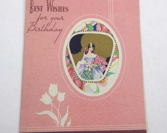 Vintage 1940s Birthday Greeting Card with Pretty Girl in Dress Holding Bouquet of Pink Roses