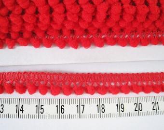 12 yards of Tiny Pom Pom Trim -  Number 10 Bright Red - Pom Pom size 0.3 cm