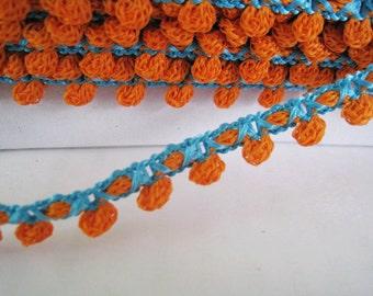 6 yards of Small Crochet Pom Pom Trim -  Orange and Blue  - Pom Pom size 0.5 cm