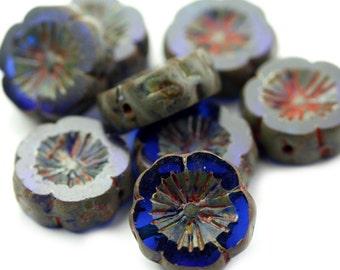 Czech Glass Bead Flower Chunky Hibiscus 15mm Sapphire Picasso (4) CZP841