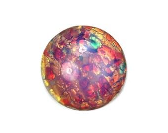 Glass Cabochons Czech 18mm Round Fire Opal (1) GC059