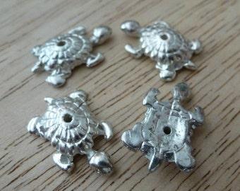 4 Vintage Silver Tone Turtle Beads C29