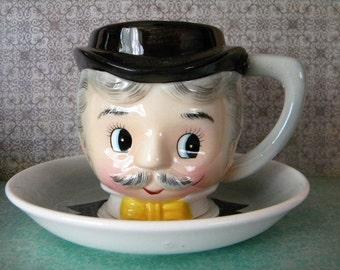 Vintage PY Figural Cup and Saucer Dapper Gentleman Gay 90's