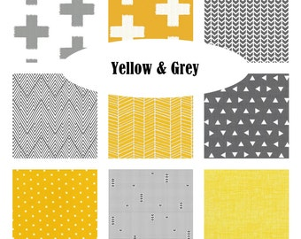 Custom Crib Bedding-Yellow and Grey