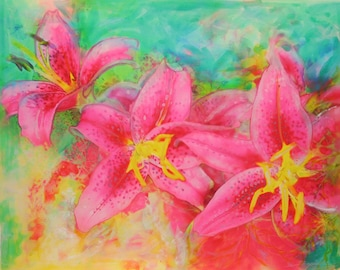 Pink lilies, Summertime, 16x20 inches, mixed media photograph, The Summer garden, pink decor, Floral decor, gardens #Floral art #Pink art