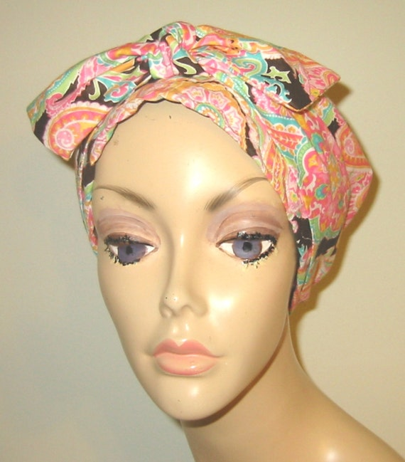Pink and Brown  Paisley Chemo Scarf, Hat, Cancer Hat, Hijab, Alopecia, Head Cover