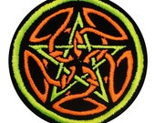 Neon Celtic Pentagram Patch - Celtic Pagan Symbolism Patch - Celtic Druid Pagan - Handmade Embroidery Design By Psysub Iron on Sew on Patch
