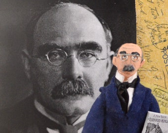 Rudyard Kipling Author of Jungle Book Author Doll Miniature